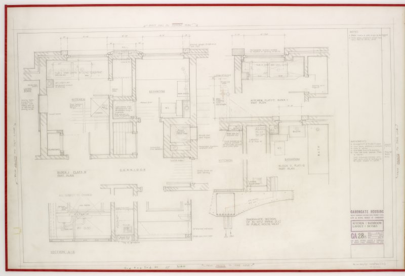 Floor plans and sections relating to Kitchen and bathroom layouts for Canongate Housing.  Title:  Kitchen & Bathroom.  Layout & Details