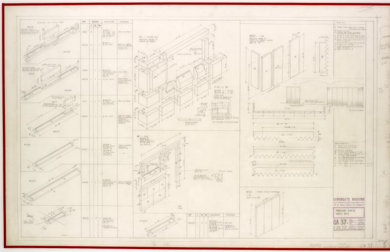 Measured drawings for precast units for Canongate Housing .   Title:  Precast Units Sheet 2