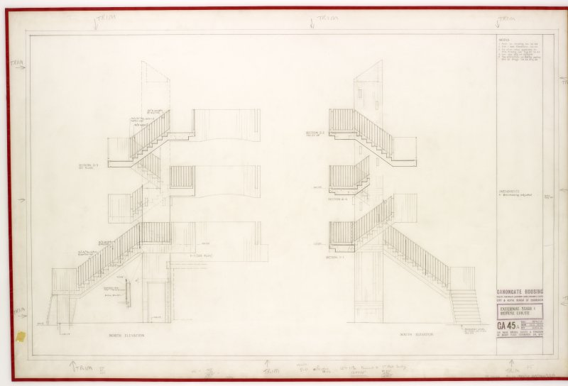 North and south elevations for external stairs at Canongate Housing .   Title: External Stair & Refuse Chute