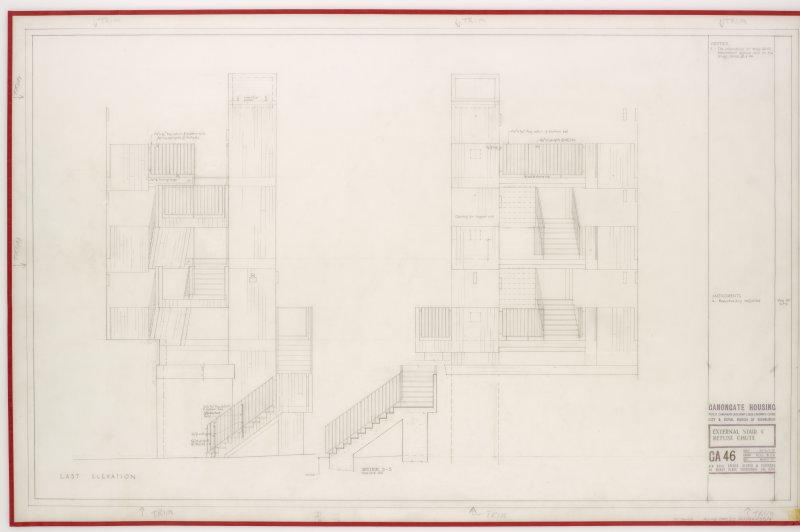 East and West elevations for external stairs at Canongate Housing .   Title: External Stair & Refuse Chute