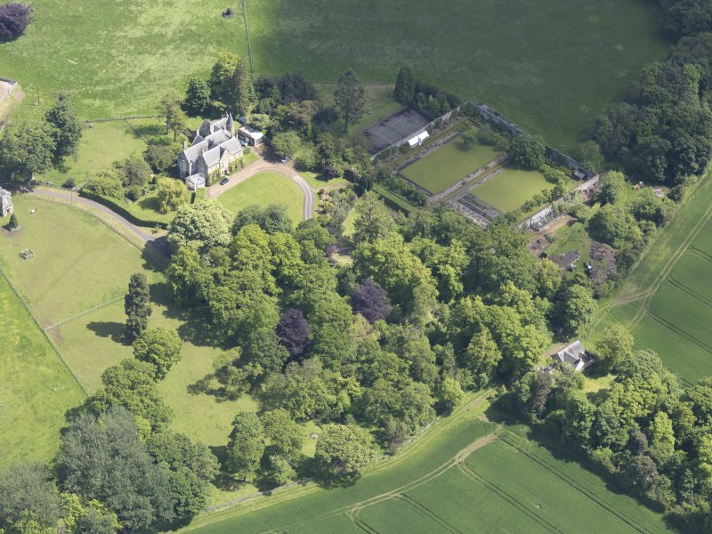 Oblique aerial view of Huntingdon House, taken from the WSW.