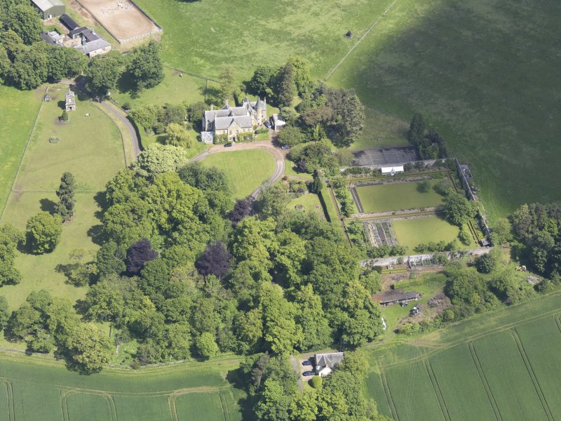 Oblique aerial view of Huntingdon House, taken from the SSW.
