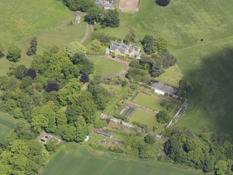 Oblique aerial view of Huntingdon House, taken from the S.