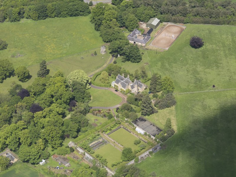 Oblique aerial view of Huntingdon House, taken from the SE.