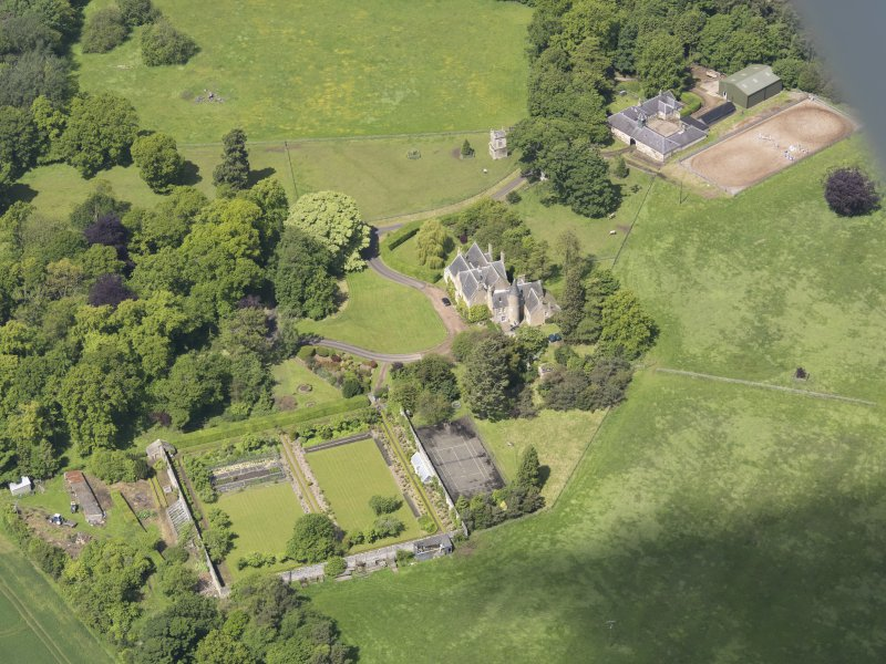 Oblique aerial view of Huntingdon House, taken from the ESE.