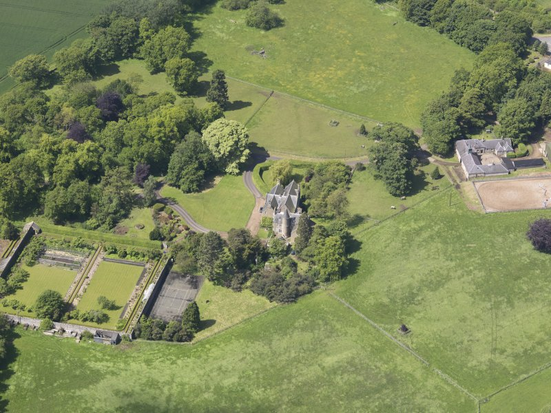 Oblique aerial view of Huntingdon House, taken from the E.