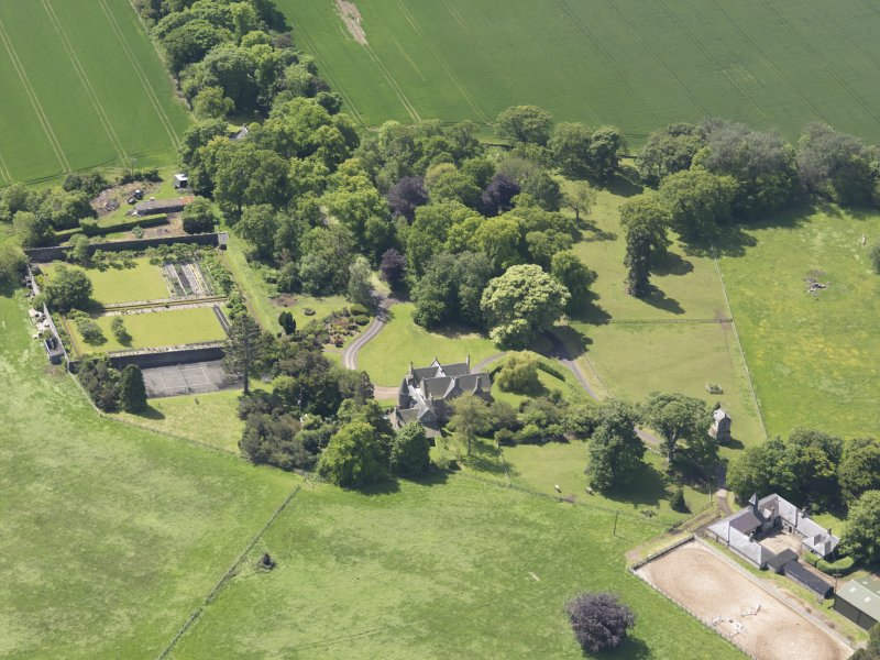 Oblique aerial view of Huntingdon House, taken from the ENE.