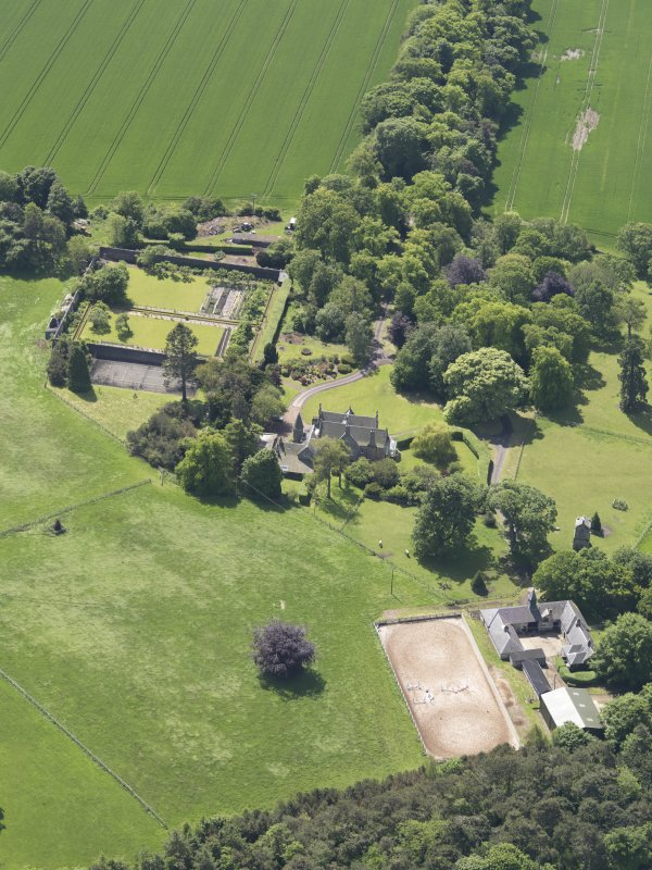 Oblique aerial view of Huntingdon House, taken from the NE.