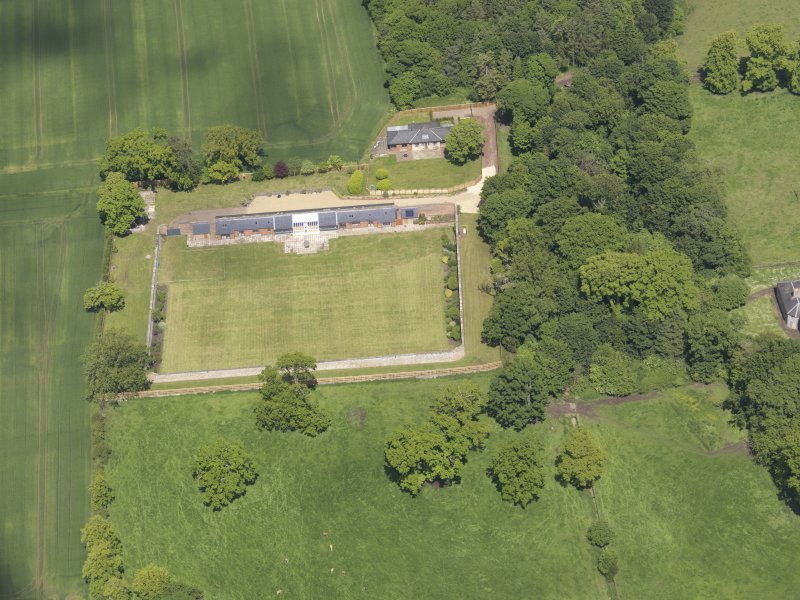 Oblique aerial view of Alderston House walled garden, taken from the SSE.