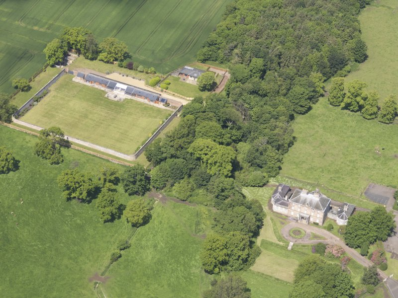 Oblique aerial view of Alderston House and walled garden, taken from the SE.