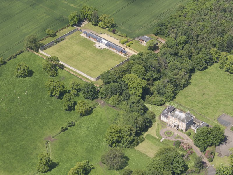 Oblique aerial view of Alderston House and walled garden, taken from the ESE.