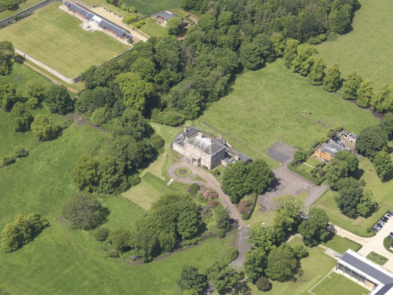 Oblique aerial view of Alderston House and walled garden, taken from the E.