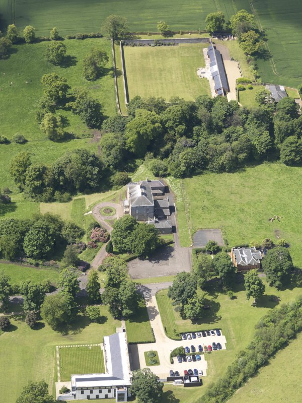 Oblique aerial view of Alderston House and walled garden, taken from the ENE.