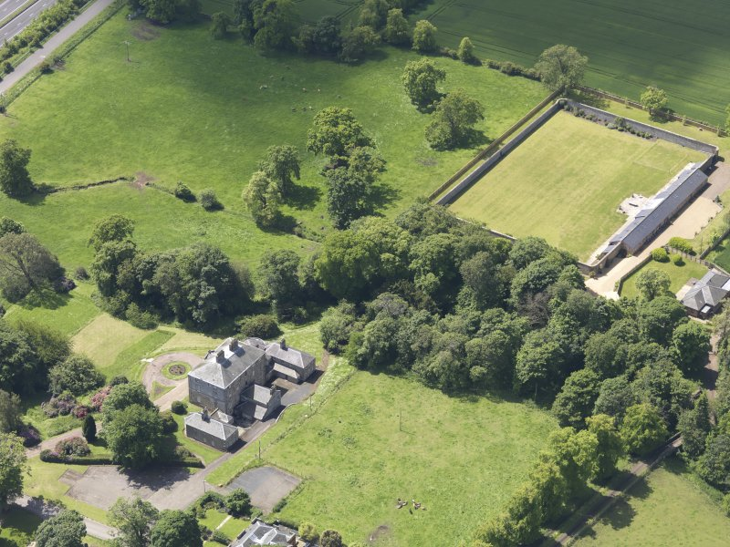 Oblique aerial view of Alderston House and walled garden, taken from the NE.