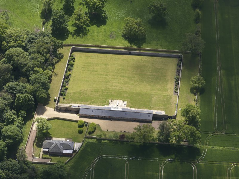 Oblique aerial view of Alderston House walled garden, taken from the NW.