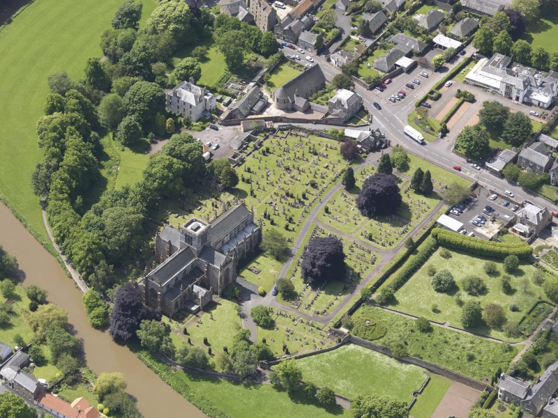 Oblique aerial view of St Mary's Parish Church, taken from the NE.
