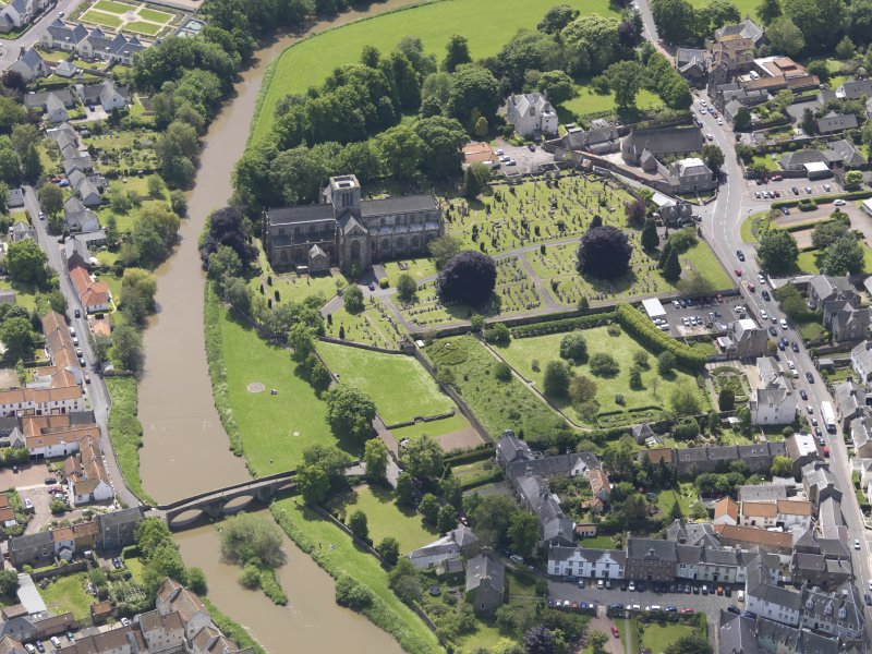 Oblique aerial view of St Mary's Parish Church, taken from the N.