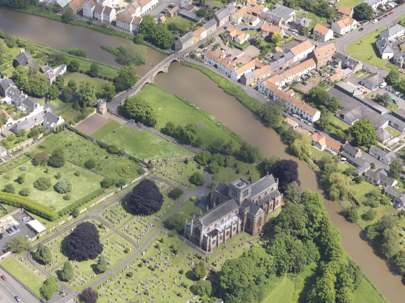 Oblique aerial view of St Mary's Parish Church, taken from the SW.