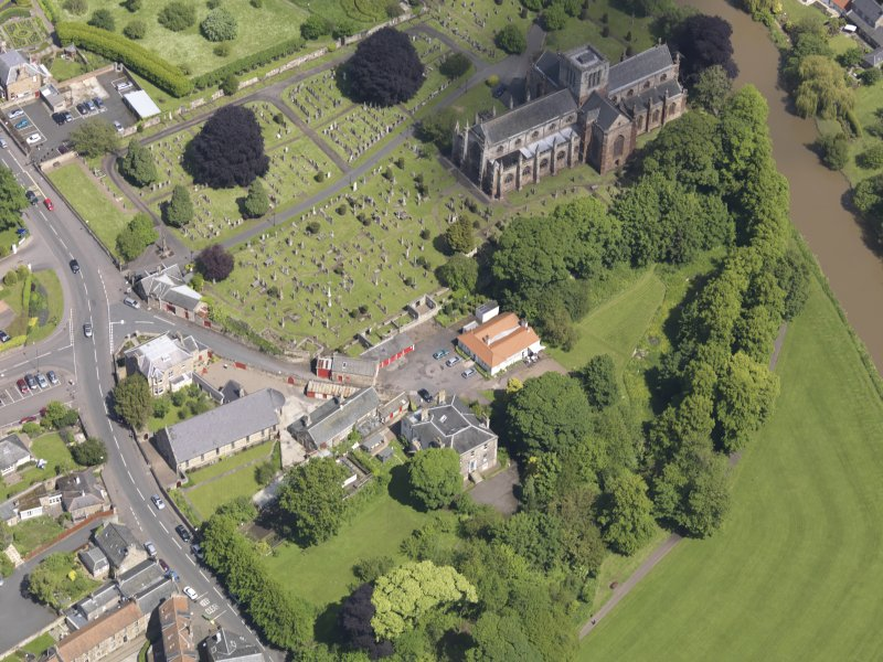 Oblique aerial view of St Mary's Parish Church, taken from the S.