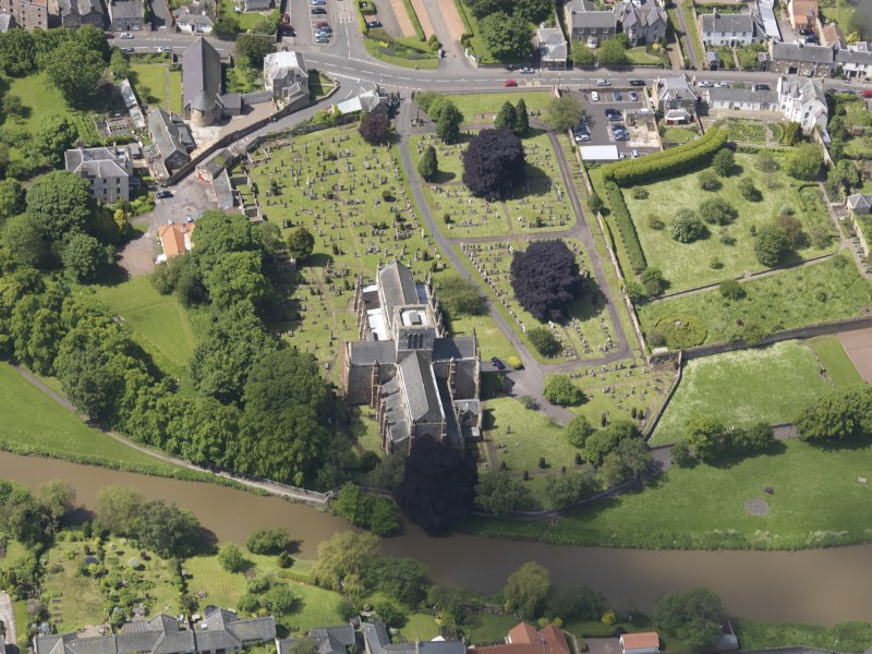 Oblique aerial view of St Mary's Parish Church, taken from the E.