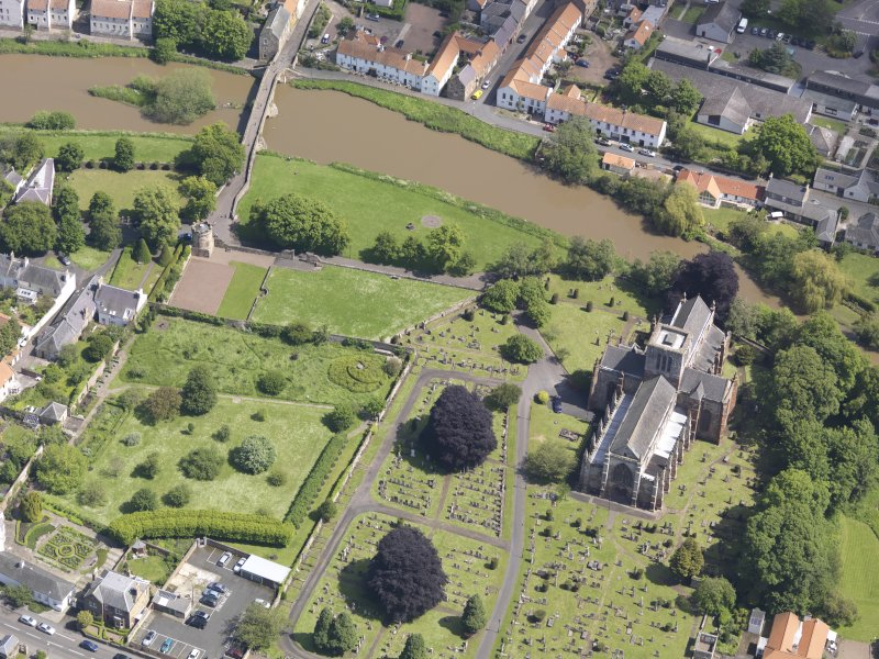 Oblique aerial view of St Mary's Parish Church, taken from the W.