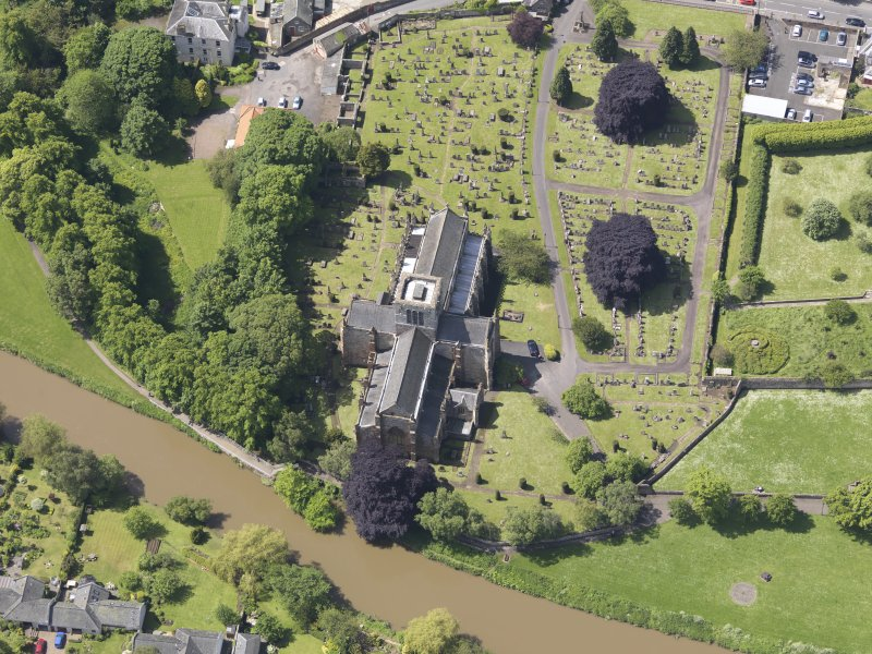 Oblique aerial view of St Mary's Parish Church, taken from the ENE.