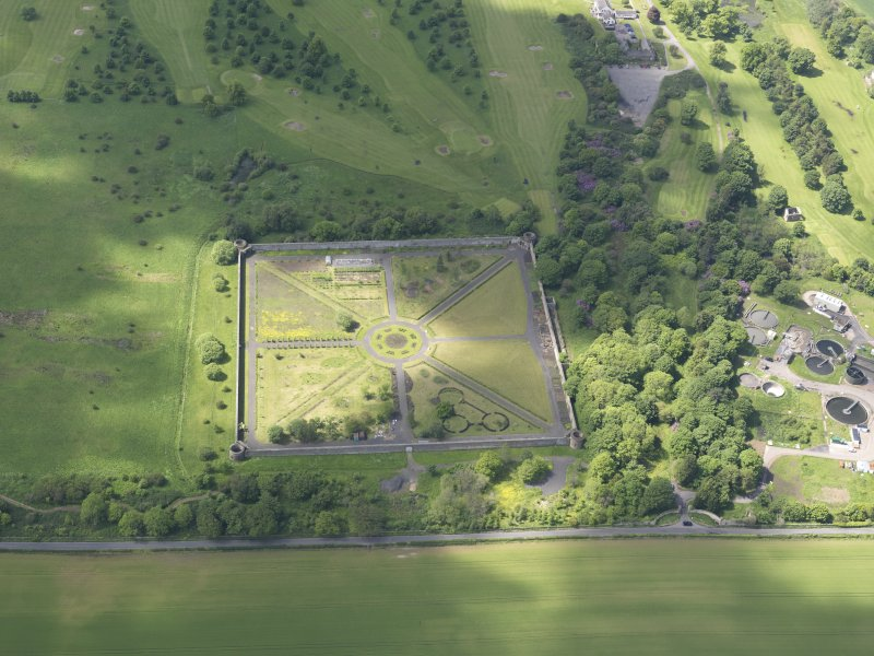 Oblique aerial view of Amisfield Park walled garden, taken from the ENE.