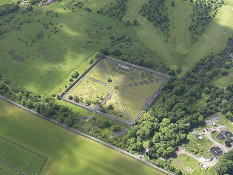 Oblique aerial view of Amisfield Park walled garden, taken from the NE.