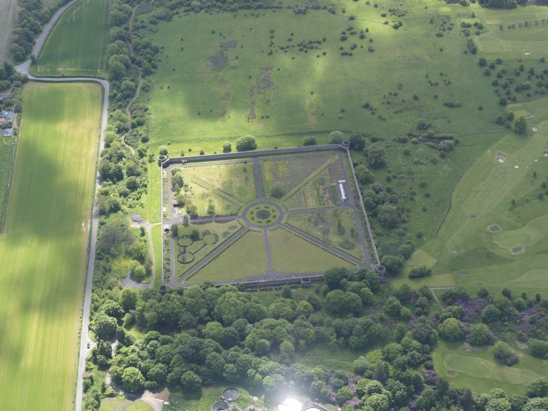 Oblique aerial view of Amisfield Park walled garden, taken from the NNW.