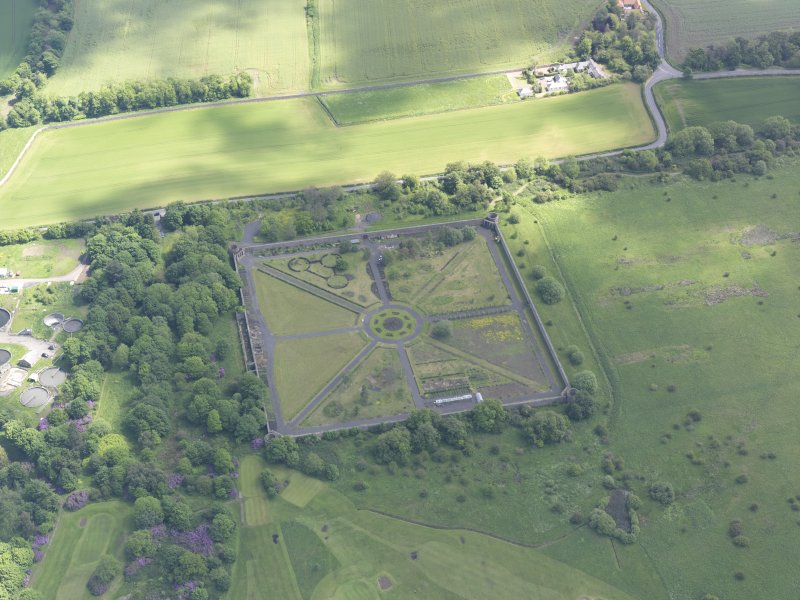 Oblique aerial view of Amisfield Park walled garden, taken from the W.