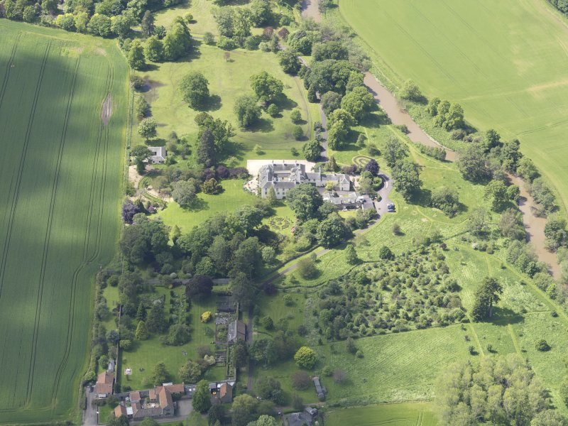 Oblique aerial view of Stevenson House, taken from the E.