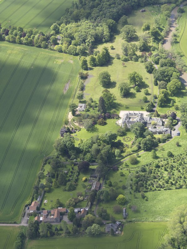 Oblique aerial view of Stevenson House, taken from the ENE.