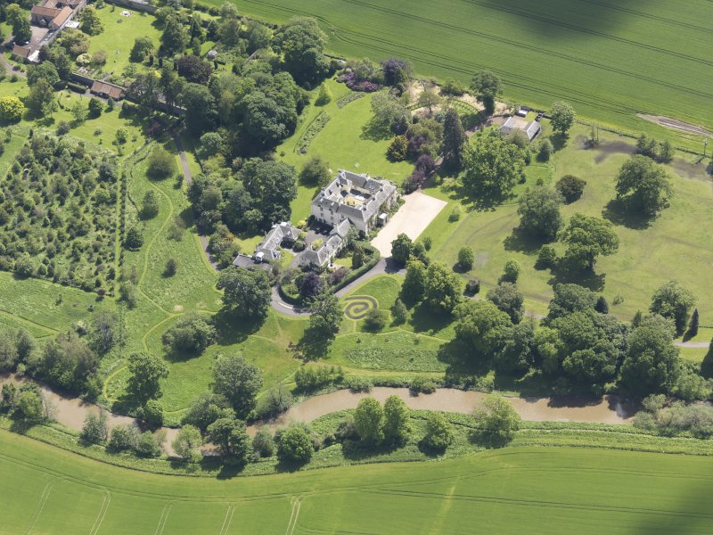 Oblique aerial view of Stevenson House, taken from the NW.