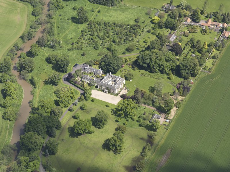 Oblique aerial view of Stevenson House, taken from the SW.