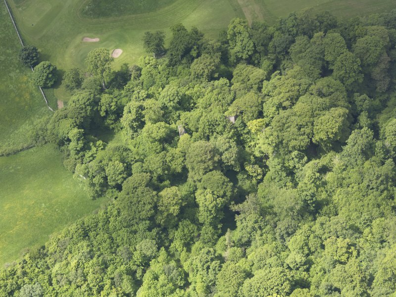 Oblique aerial view of Yester Castle and Goblin Ha', taken from the E.