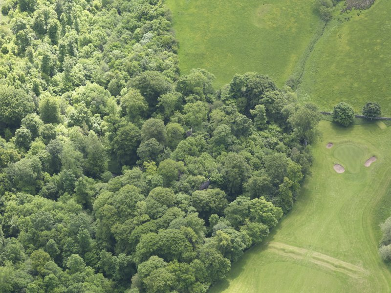 Oblique aerial view of Yester Castle and Goblin Ha', taken from the NW.