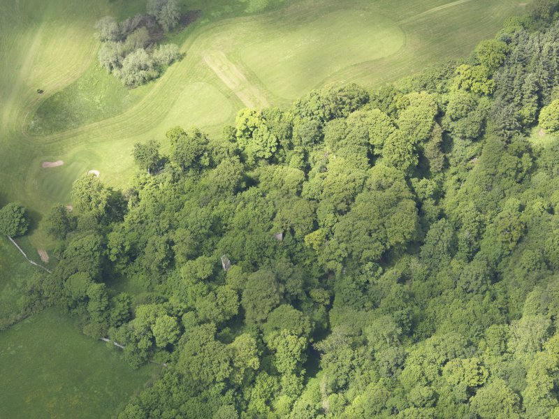 Oblique aerial view of Yester Castle and Goblin Ha', taken from the SE.