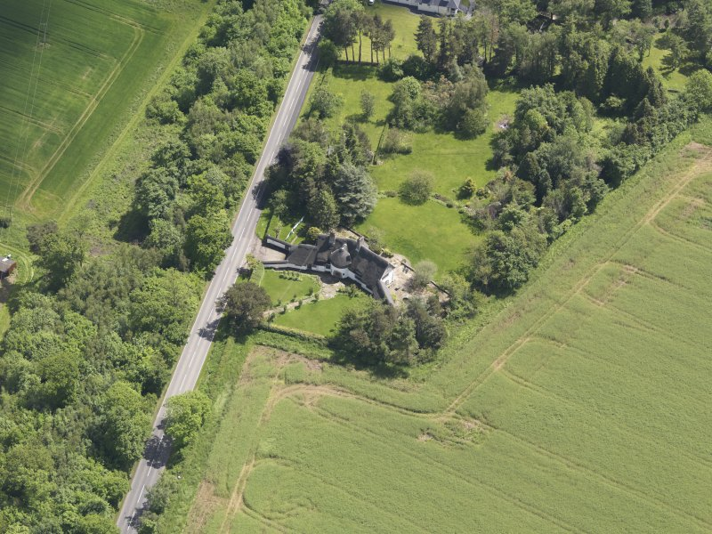 Oblique aerial view of Bolton Muir Country House, taken from the WSW.