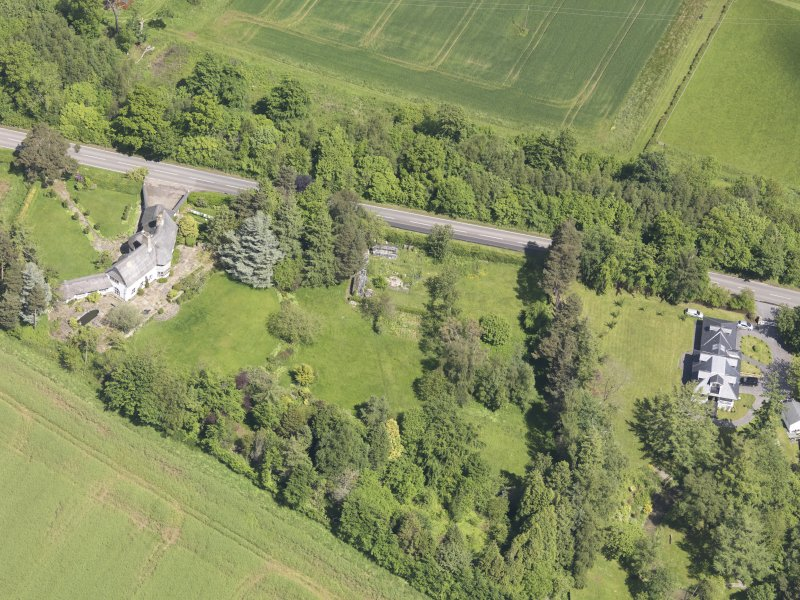 Oblique aerial view of Bolton Muir Country House, taken from the SSW.