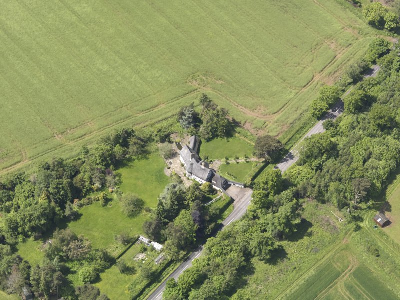 Oblique aerial view of Bolton Muir Country House, taken from the E.