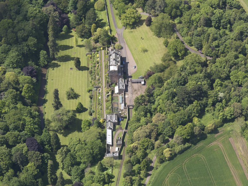 Oblique aerial view of Biel Country House, taken from the E.