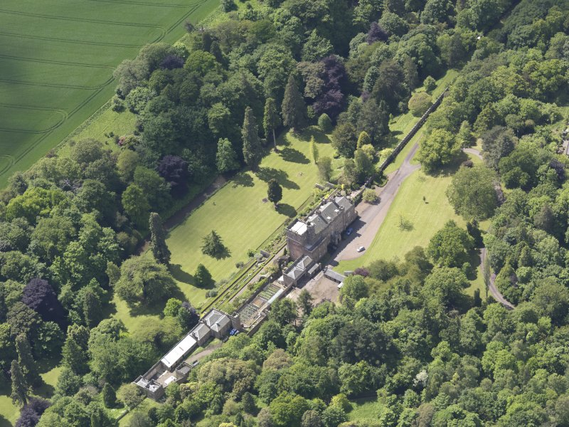 Oblique aerial view of Biel Country House, taken from the NE.