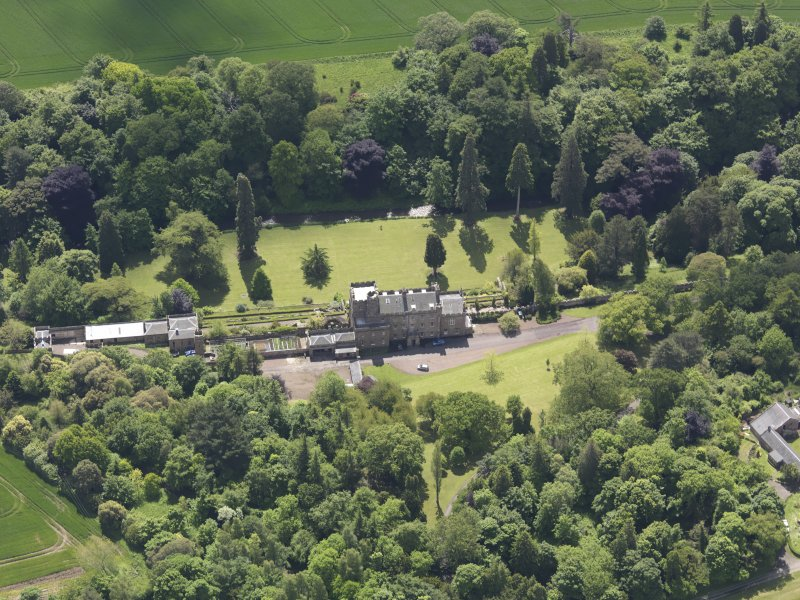 Oblique aerial view of Biel Country House, taken from the N.