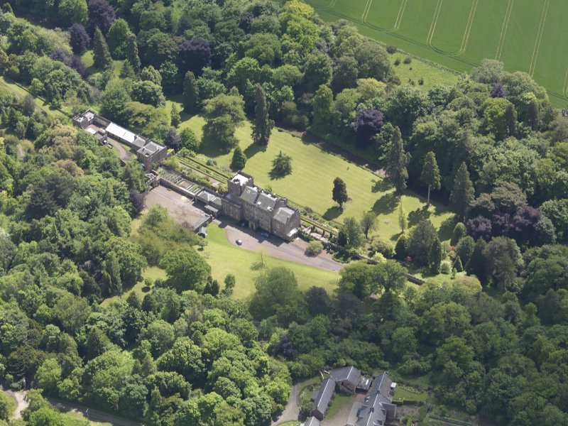 Oblique aerial view of Biel Country House, taken from the NW.