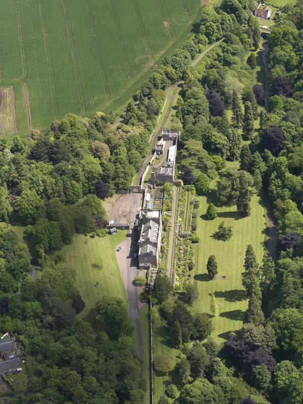 Oblique aerial view of Biel Country House, taken from the W.