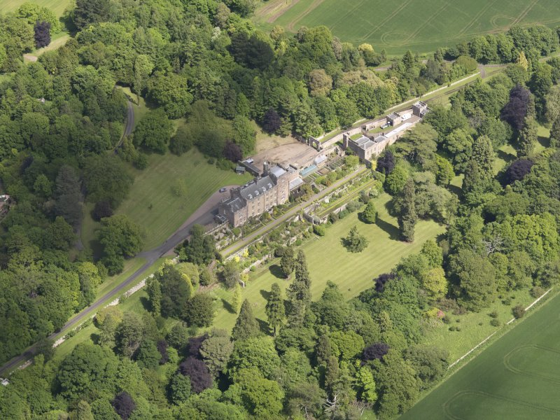 Oblique aerial view of Biel Country House, taken from the SW.
