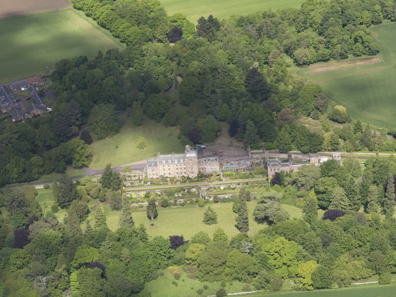 Oblique aerial view of Biel Country House, taken from the S.