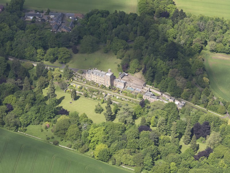 Oblique aerial view of Biel Country House, taken from the SSE.
