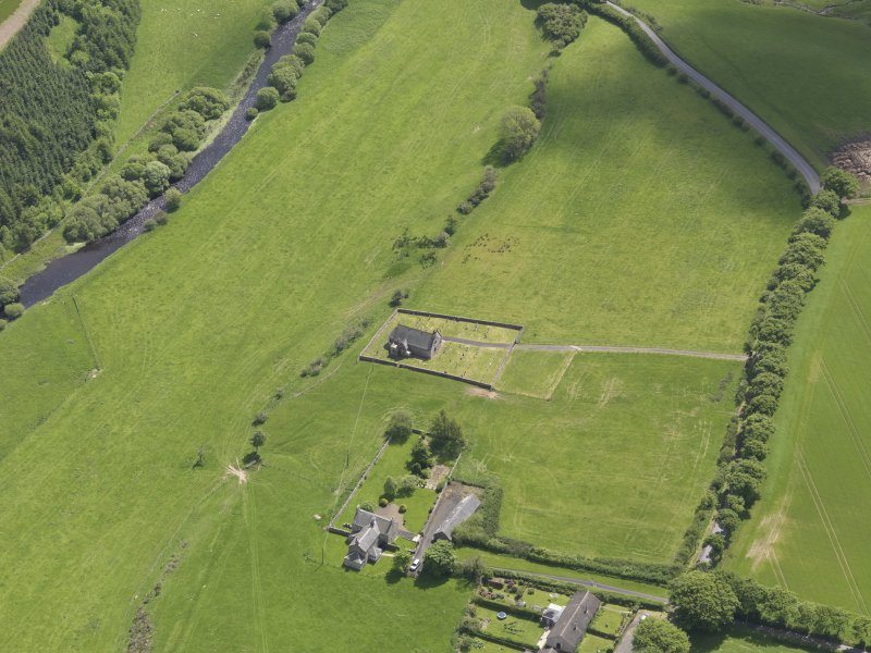 Oblique aerial view of Cranshaws Parish Church, taken from the N.