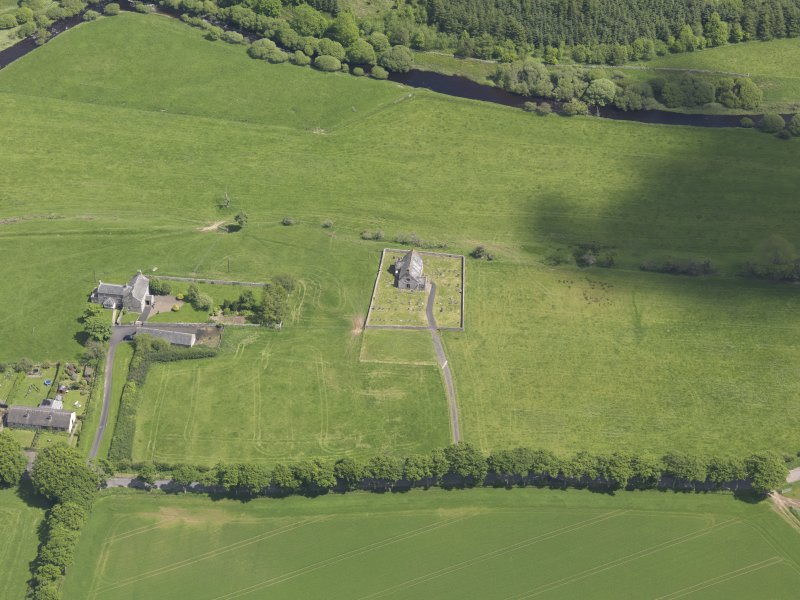 Oblique aerial view of Cranshaws Parish Church, taken from the WSW.